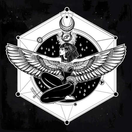 egyptian woman: Egyptian diety Isis with outstratched wings. Isis is goddess of health, magic, and love. In Mesopotamian religion her name is Tiamat. Spirituality, occultism, tattoo art. Isolated vector illustration. Illustration
