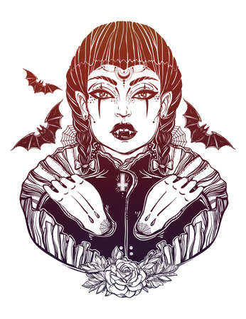 wierd: beautiful vampire girl. Portrait of young undead monster lady in a coffin for t-shirt design or print. Fashion sketch vector illustration. Weird Gothic tattoo art. Halloween.