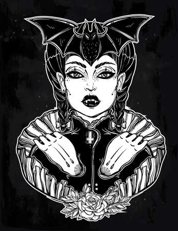 wierd: beautiful vampire girl. Portrait of young undead monster lady in a coffin for t-shirt design or print. Fashion sketch vector illustration. Weird gothic tattoo art. Halloween. Illustration
