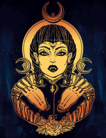 beautiful vampire girl. Portrait of young undead monster lady in a coffin with moons for t-shirt design or print. Fashion sketch vector illustration. Weird gothic tattoo art. Halloween. Illustration