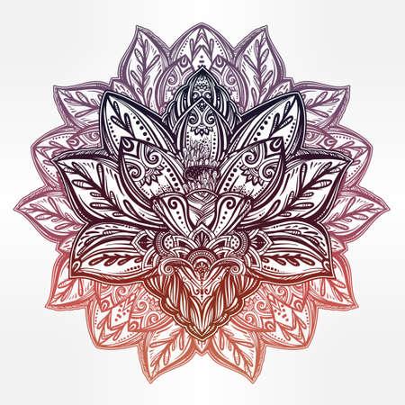 astrology: Vector ornamental Lotus flower, ethnic art, patterned Indian paisley. Hand drawn illustration. Invitation element. Tattoo, astrology, alchemy, boho and magic symbol.