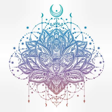 astrologie: Vector ornamental Lotusblume, ethnische Kunst, indische Paisley-Muster. Hand gezeichnete Illustration. Einladung Element. Tattoo, Astrologie, Alchemie, Boho und Magie Symbol.
