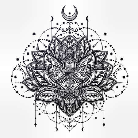 indian tattoo: Vector ornamental Lotus flower, ethnic art, patterned Indian paisley. Hand drawn illustration. Invitation element. Tattoo, astrology, alchemy, boho and magic symbol.
