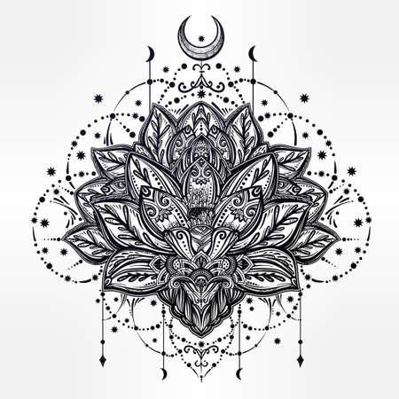 buddhism: Vector ornamental Lotus flower, ethnic art, patterned Indian paisley. Hand drawn illustration. Invitation element. Tattoo, astrology, alchemy, boho and magic symbol.