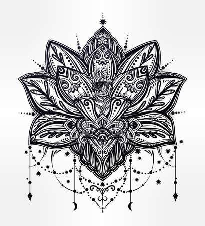 矢量觀賞蓮花,民族藝術,圖案印佩斯利。手工繪製插圖。邀請元素。紋身,占星術,煉丹術,博霍和魔法符號。 版權商用圖片 - 64034533