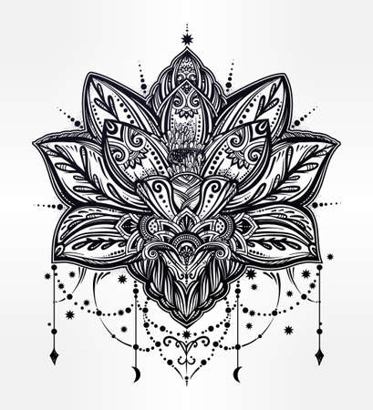 Vector ornamental Lotus flower, ethnic art, patterned Indian paisley. Hand drawn illustration. Invitation element. Tattoo, astrology, alchemy, boho and magic symbol. 版權商用圖片 - 64034533