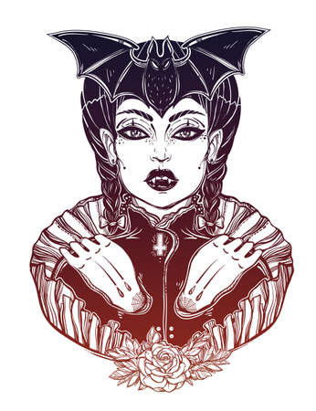 Sexy beautiful vampire girl. Portrait of young undead monster lady in a coffin for t-shirt design or print. Fashion sketch vector illustration. Weird gothic tattoo art. Halloween. Illustration