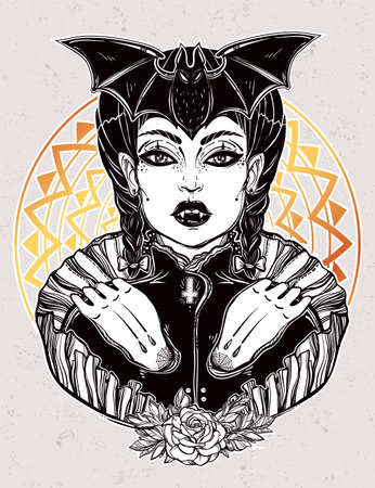 wierd: Sexy beautiful vampire girl. Portrait of young undead monster lady in a coffin for t-shirt design or print. Fashion sketch vector illustration. Weird gothic tattoo art. Halloween. Illustration