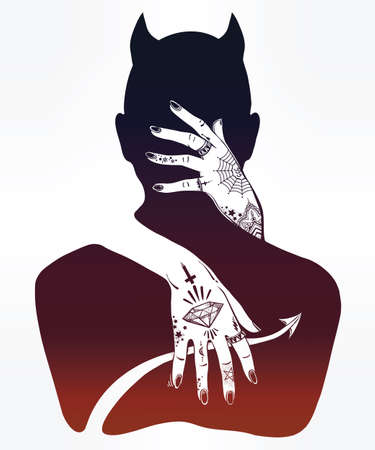 mystical: Hand drawn beautiful silhouette artwork of a demon in a hug. Mystic lady with tattooes hugging Satan. Alchemy, religion, spirituality, occultism, tattoo art. Isolated vector illustration.
