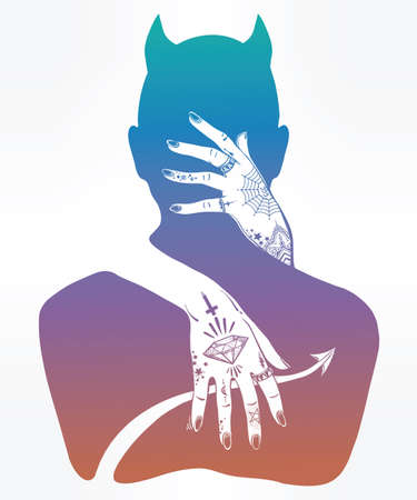 occultism: Hand drawn beautiful silhouette artwork of a demon in a hug. Mystic lady with tattooes hugging Satan. Alchemy, religion, spirituality, occultism, tattoo art. Isolated vector illustration.