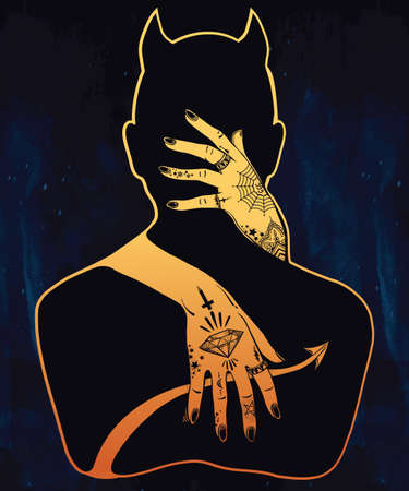 satan: Dibujado a mano obras de arte hermosa silueta de un demonio en un abrazo. señora mística con tatuajes que abraza a Satanás. Alquimia, la religión, la espiritualidad, el ocultismo, el arte del tatuaje. ilustración del vector.