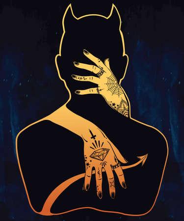 satan: Hand schöne Silhouette Kunstwerk von einem Dämon in eine Umarmung gezogen. Mystic Dame mit Tattoos umarmt Satan. Alchemie, Religion, Spiritualität, Okkultismus, Tattoo-Kunst. Isolierte Vektor-Illustration.