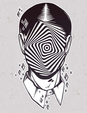 noir: Hand drawn portrait of a weird man with anonymous face. Graphic drawing in Noir retro style with vortex starburst twirl head. Character design, surrealism, tattoo art. Isolated vector illustration.
