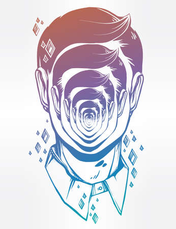 distorted: Hand drawn portrait of a weird man with strange face. Graphic drawing in Noir retro style depicting mental disorder. Character design, surrealism, tattoo art. Isolated vector illustration. Illustration