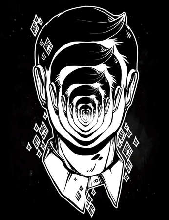 noir: Hand drawn portrait of a weird man with strange face. Graphic drawing in Noir retro style depicting mental disorder. Character design, surrealism, tattoo art. Isolated vector illustration. Illustration
