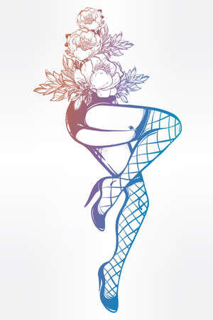 provocative woman: Decorative drawing in flash tattoo style with sexy female legs in fishnet stockings, high heels and flowers. Vector illustration isolated. Pop pin-up design, foot fetish symbol. Vintage art. Illustration