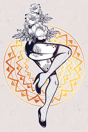 female legs: Decorative drawing in flash tattoo style with sexy inked female legs in fishnet stockings, high heels and flowers. Vector illustration isolated. Pop pin-up design, foot fetish symbol. Vintage art.