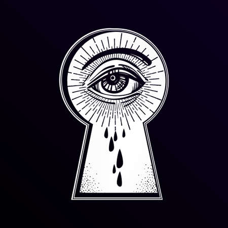 key hole: Mystic eye peeping through the keyhole. Graphic outline drawing in Noir retro style. Isolated vector illustration. Vintage, t-shirt, secrets, tattoo, coloring books. Trendy print.