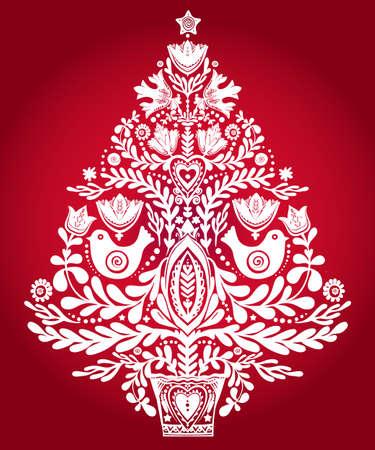 scandinavian: Christmas tree with beautiful highly detailed letterpress holiday Scandinavian folk style elements.