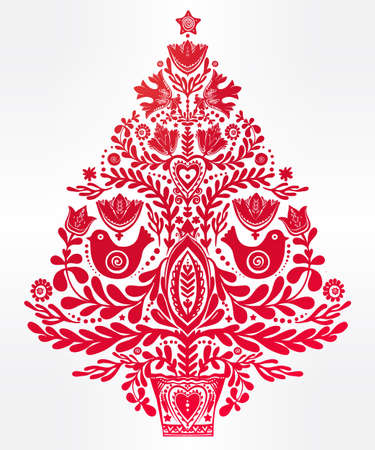 Christmas tree with beautiful highly detailed letterpress holiday Scandinavian folk style elements.