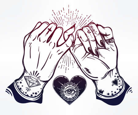 wierd: Pinky promise, hand holding. Heart with eye in it. Hands are tattooed. Ghetto and gothic style inspired. Vector illustration isolated. Tattoo design, trendy friendship symbol for your use. Illustration