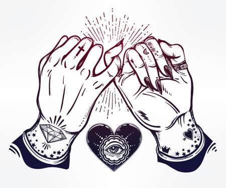 dedo meÑique: promesa de meñique, explotación de la mano. Corazón con el ojo en ella. Las manos están tatuados. Ghetto y el estilo gótico inspirado. aislado ilustración vectorial. diseño del tatuaje, de moda símbolo de la amistad para su uso.