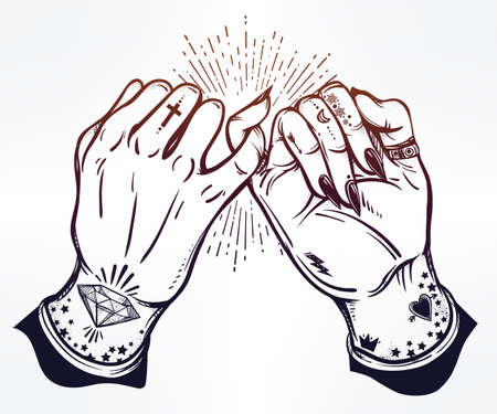ghetto: Pinky promise, hand holding. Hands are tattooed. Ghetto and gothic style inspired. Vector illustration isolated. Tattoo design, trendy friendship symbol for your use.