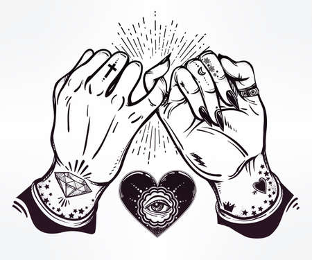 ghetto: Pinky promise, hand holding. Heart with eye in it. Hands are tattooed. Ghetto and gothic style inspired. Vector illustration isolated. Tattoo design, trendy friendship symbol for your use. Illustration