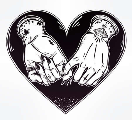 pinkie: Pinky promise, hand holding inside the heart. Hands are tattooed. Ghetto and gothic style inspired. Vector illustration isolated. Tattoo design, trendy friendship symbol for your use. Illustration
