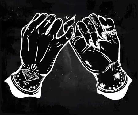 wierd: Pinky promise, hand holding. Hands are tattooed. Ghetto and gothic style inspired. Vector illustration isolated. Tattoo design, trendy friendship symbol for your use.