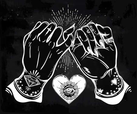 pinkie: Pinky promise, hand holding. Heart with eye in it. Hands are tattooed. Ghetto and gothic style inspired. Vector illustration isolated. Tattoo design, trendy friendship symbol for your use. Illustration