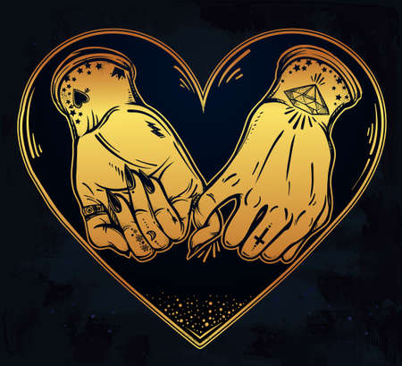 ghetto: Pinky promise, hand holding inside the heart. Hands are tattooed. Ghetto and gothic style inspired. Vector illustration isolated. Tattoo design, trendy friendship symbol for your use. Illustration