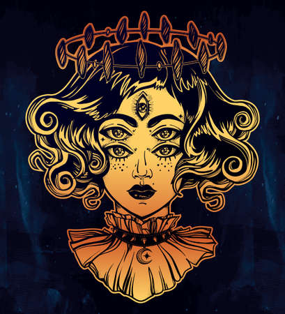 Strange witch girl head portrait with halo and five eyes. Four eyed gothic lady is an ideal Halloween, tattoo, wierd, psychedelic art for print, posters, t-shirts and textiles. Vector illustration. Illustration
