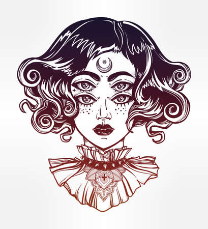 Strange witch girl head portrait with gothic collar and four eyes. Four eyed lady is an ideal Halloween, tattoo, wierd, psychedelic art for print, posters, t-shirts and textiles. Vector illustration.