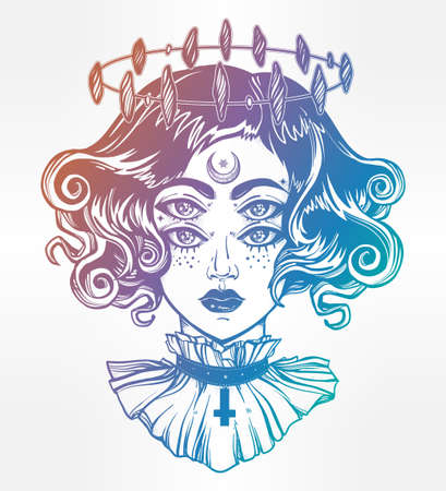 Strange witch girl head portrait with halo and four eyes. Four eyed gothic lady is an ideal Halloween, tattoo, wierd, psychedelic art for print, posters, t-shirts and textiles. Vector illustration.