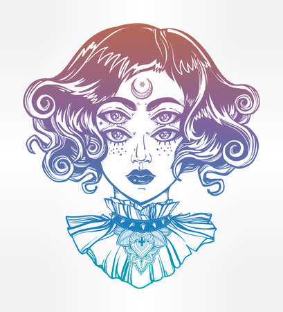 four eyes: Strange witch girl head portrait with gothic collar and four eyes. Four eyed lady is an ideal Halloween, tattoo, wierd, psychedelic art for print, posters, t-shirts and textiles. Vector illustration.