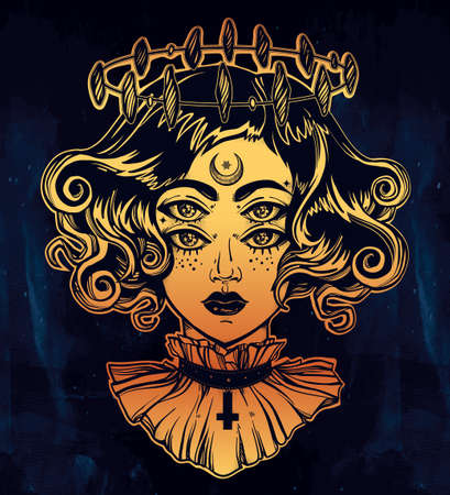 four eyes: Strange witch girl head portrait with halo and four eyes. Four eyed gothic lady is an ideal Halloween, tattoo, wierd, psychedelic art for print, posters, t-shirts and textiles. Vector illustration.