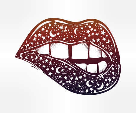 fatal: Sexy fatal biting lips with stars and moons. Surreal galaxy lipstick. Pop art print in flash tattoo style. Isolated vector illustration. 1990s inspired art.