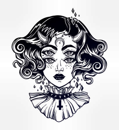 wierd: Devil girl head portrait with gothic hair, horns and four eyes. Four eyed lady is an ideal Halloween, tattoo, wierd, psychedelic art for print, posters, t-shirts and textiles. Vector illustration.