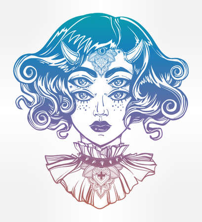wierd: Devil girl head portrait with gothic collar and four eyes. Four eyed lady is an ideal Halloween, tattoo, wierd, psychedelic art for print, posters, t-shirts and textiles. Vector illustration.