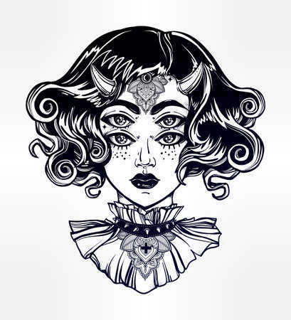 Devil girl head portrait with gothic collar and four eyes. Four eyed lady is an ideal Halloween, tattoo, wierd, psychedelic art for print, posters, t-shirts and textiles. Vector illustration.