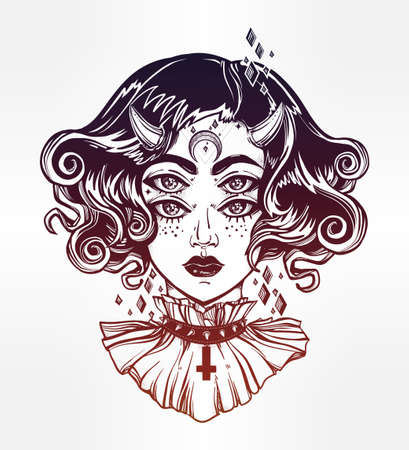 four eyes: Devil girl head portrait with gothic hair, horns and four eyes. Four eyed lady is an ideal Halloween, tattoo, wierd, psychedelic art for print, posters, t-shirts and textiles. Vector illustration.