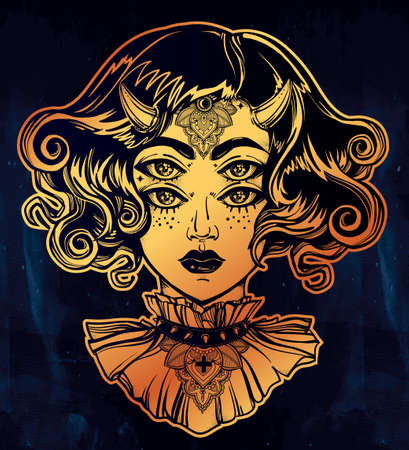 four eyes: Devil girl head portrait with gothic collar and four eyes. Four eyed lady is an ideal Halloween, tattoo, wierd, psychedelic art for print, posters, t-shirts and textiles. Vector illustration.