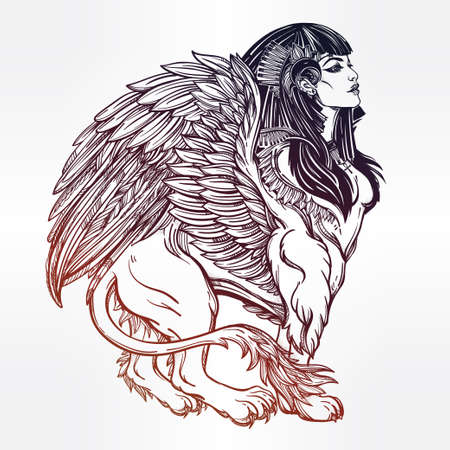 lion with wings: Sphinx, ancient beast. Mythical creature with head of human, body of lion and wings, with the eye of god Ra Horus - ankh. Symbol of wisdom. Isolated vector illustration in line art style.