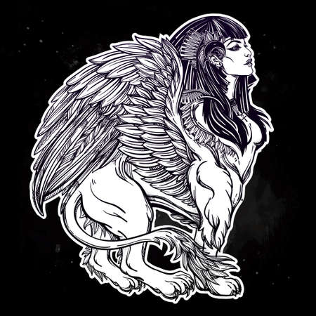 Sphinx: Sphinx, ancient beast. Mythical creature with head of human, body of lion and wings, with the eye of god Ra Horus - ankh. Symbol of wisdom. Isolated vector illustration in line art style.