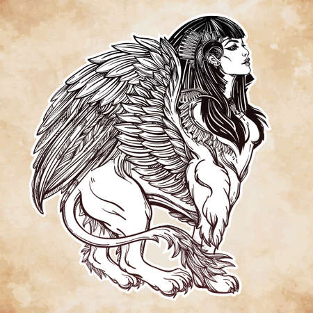ra: Sphinx, ancient beast. Mythical creature with head of human, body of lion and wings, with the eye of god Ra Horus - ankh. Symbol of wisdom. Isolated vector illustration in line art style.