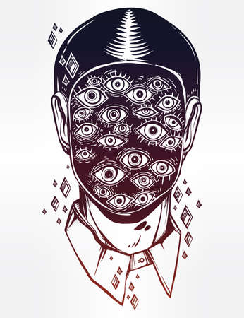noir: Hand drawn portrait of a weird man with suureal face. Graphic drawing in Noir retro style with many eyes head. Character design, surrealism, tattoo art. Isolated vector illustration. Illustration