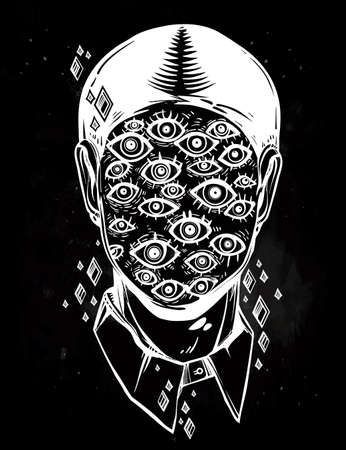 Hand drawn portrait of a weird man with suureal face. Graphic drawing in Noir retro style with many eyes head. Character design, surrealism, tattoo art. Isolated vector illustration. Illustration