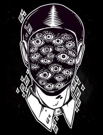 eyed: Hand drawn portrait of a weird man with suureal face. Graphic drawing in Noir retro style with many eyes head. Character design, surrealism, tattoo art. Isolated vector illustration. Illustration