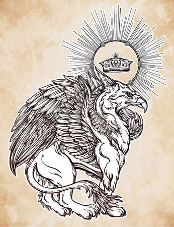 mythological: Hand drawn vintage Griffin, mythological magic winged beast with crown. Victorian motif, tattoo design element. Heraldry and   concept art. Isolated vector illustration in line art style.